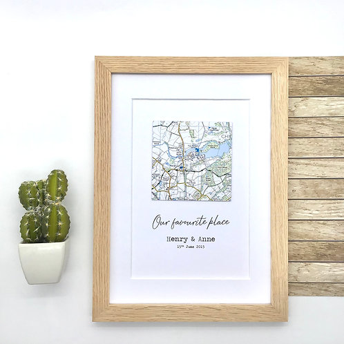 Custom Map Wall Art - Exact location map with wording of your choice