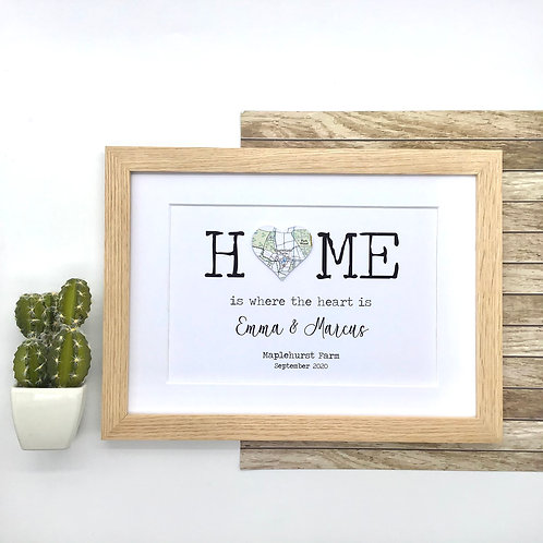 Home is where the heart is ~ Personalised Housewarming Gift ~ Exact Map Location