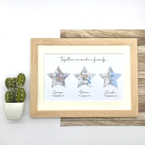 """Custom Map Wall Art - Stars """"Together we are a family"""" print - Exact location ma"""