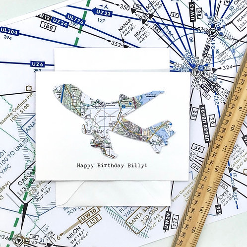 747 ~ Aeroplane Card - Aviation Themed ~ Personalised ~ Exact Map Location Card