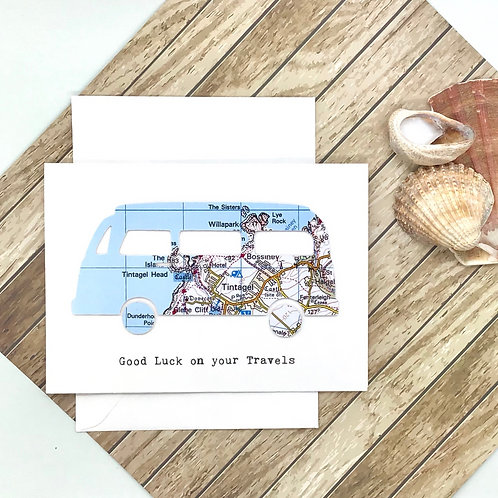 Retro Camper Van Card ~ Personalised ~ Exact Map Location ~ Different Map Styles