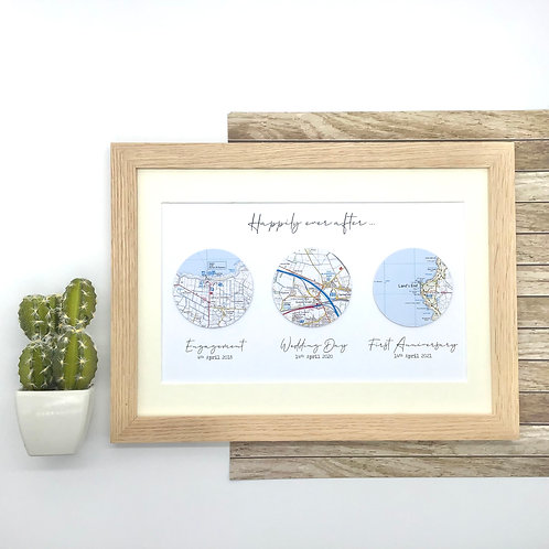 Custom Map Wall Art - Circles - Exact location map with wording of your choice