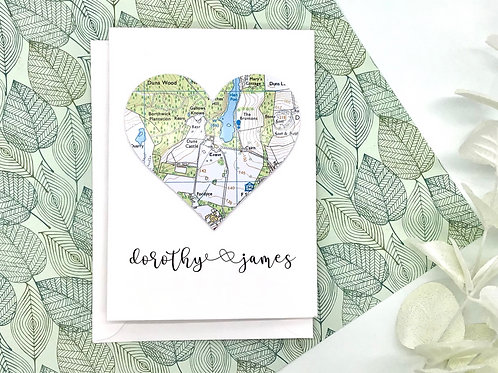 Personalised Greeting Card ~ Any Occasion ~ Named Card ~ Exact & Current Map Loc