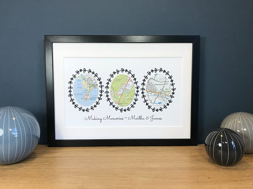 Personalised Map Location Gift ~ Three Map Locations - Handmade Gift