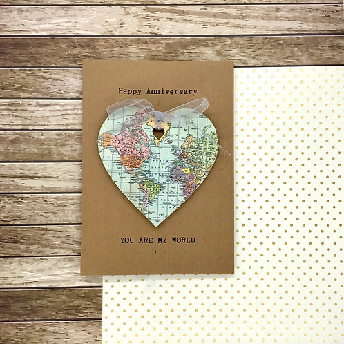 Personalised Map Wooden Heart Decoration Greeting Card - Wedding, Anniversary, V