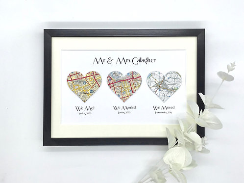 Met~Married~Moved ~ Personalised Framed Gift ~ Wedding ~ Anniversary ~ Engagemen
