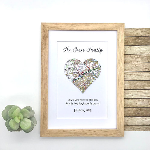 Personalised Map Housewarming Gift ~ Current Map Location ~ Bespoke Framed Artwo
