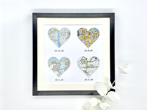 4 Hearts Memory Map Frame for Wedding, Anniversary, Engagement ~ Any Occasion, C