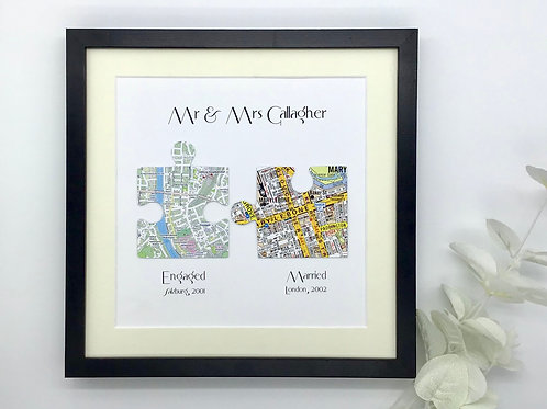 Jigsaw Puzzle Framed Anniversary, Wedding or Engagement Gift ~ Custom Wording, C