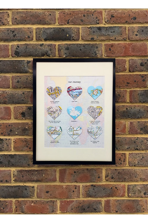 Personalised Hearts for Wedding, Anniversary, Engagement, Birthday Gift, Memory