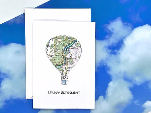 Hot Air Balloon Card - Personalised Greeting Card ~ Any Occasion ~ Exact Map Loc