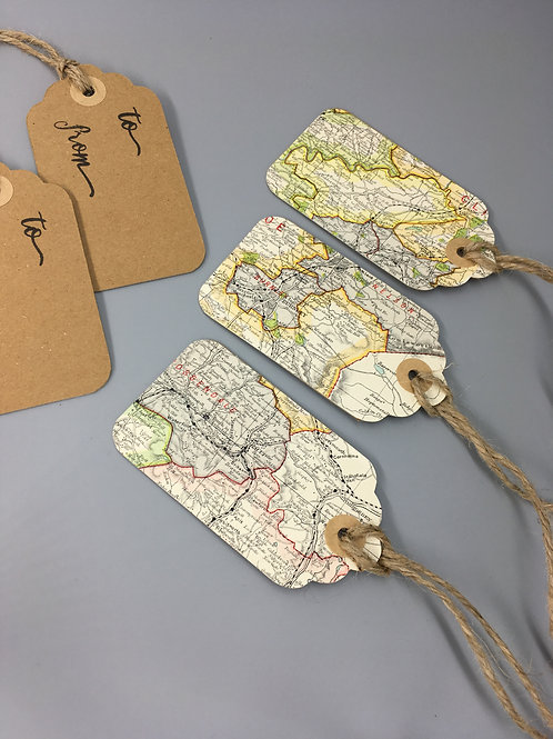 Luggage Gift Tags - Personal Map Location - Vintage Maps