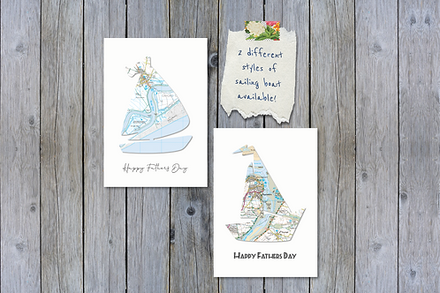 Personalised Sailing Boat Card - Map Location Greeting Card - Exact location any