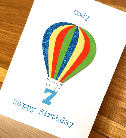 Hot air balloon birthday personalised greeting cards uk a beautiful hand crafted birthday card using high quality materials the sections of the balloon are cut individually and stuck down to create a wonderful bookmarktalkfo Choice Image