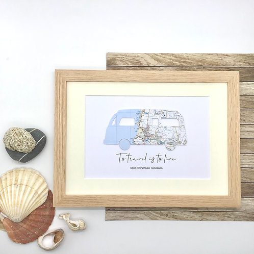 """Custom Map Retro Camper Van Wall Art """"To travel is to live"""" or wording of your c"""