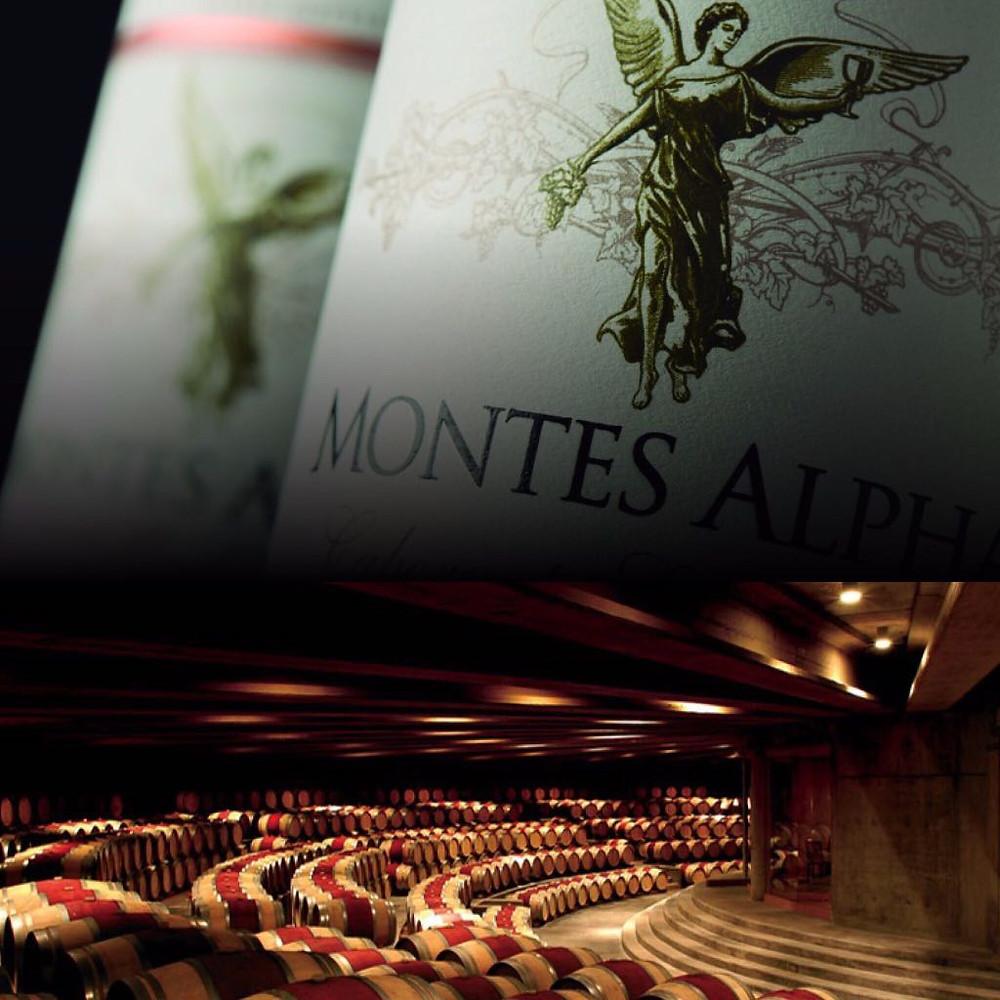 Montes Alpha e Sala de barricas da Viña Montes