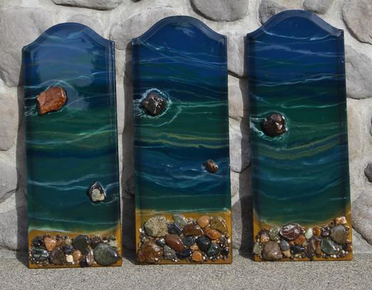 Large River Rock Triptych