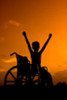 Boy sitting in wheel chair at sunset sig