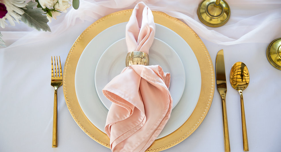 Wedding, Gold Plates, Rose Gold Napkins, Gold Silverware, Gold Cutlery, White Table Cloth, Flowers