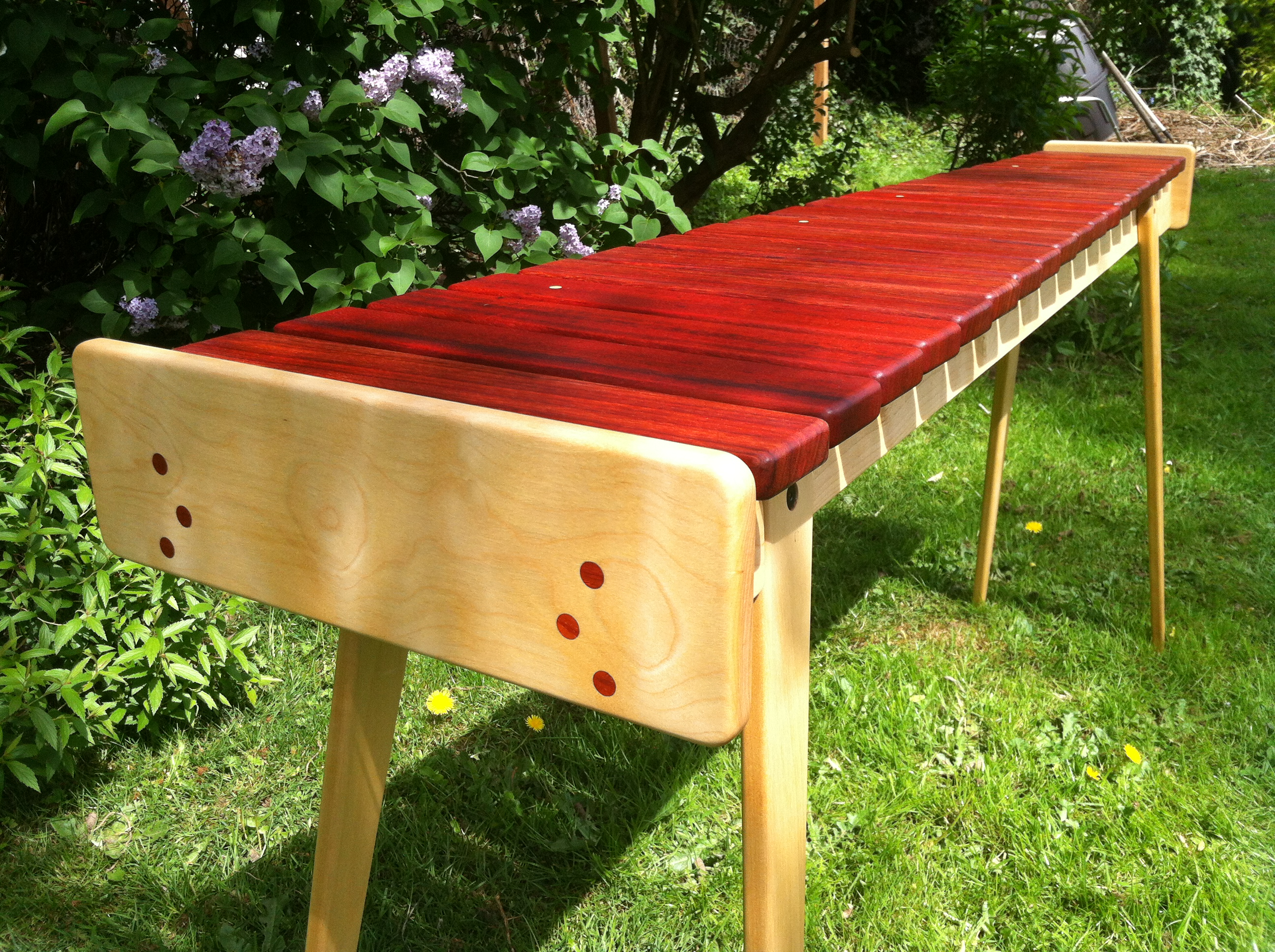 padauk and birch soprano marimba