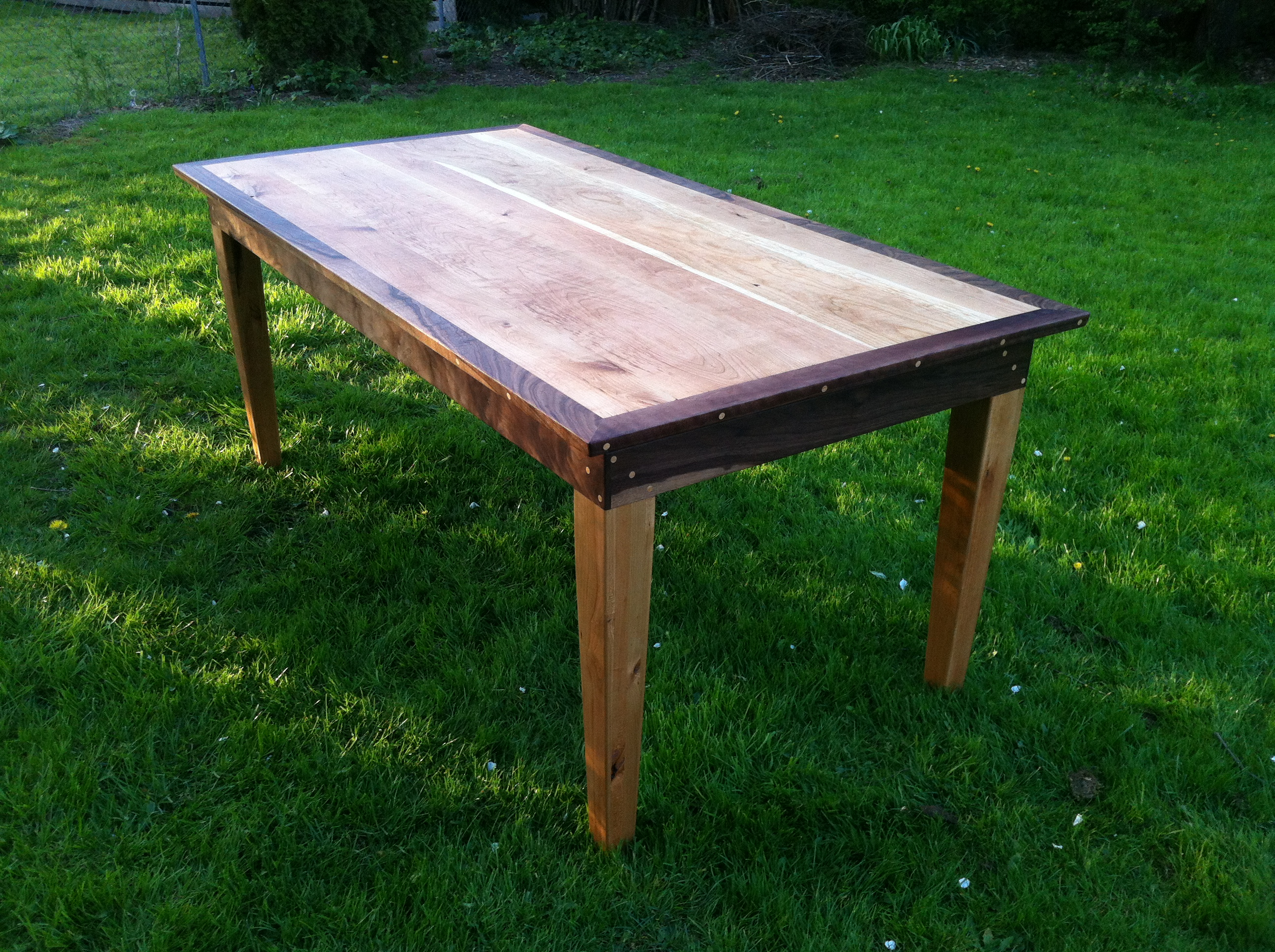 cherry and walnut custom table