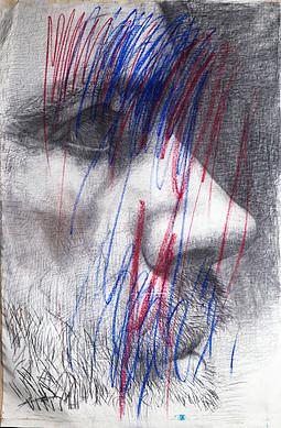 Serie Retratos 150x105 carbonilla y pastel sobre lino 2014