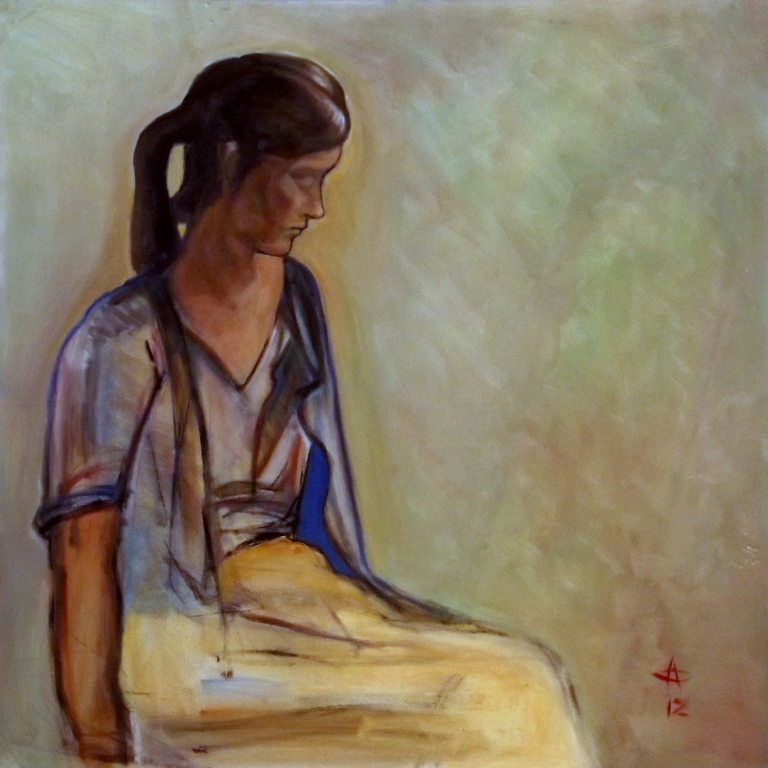 Her portrait 75x75 oleo sobre panel