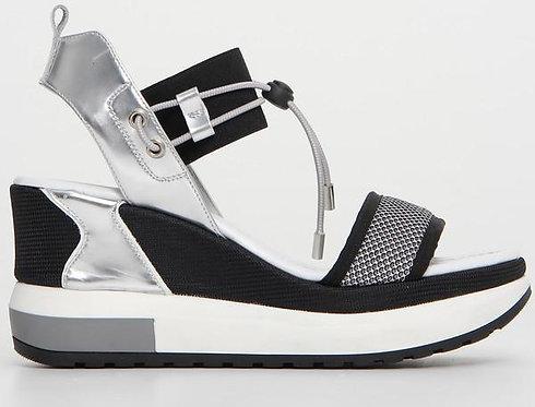 schwarz silber NeroGiardini Sandalette E112650D105