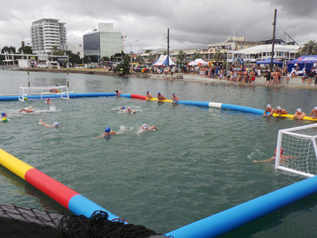 SunLive: Water Polo in the harbour in Tauranga