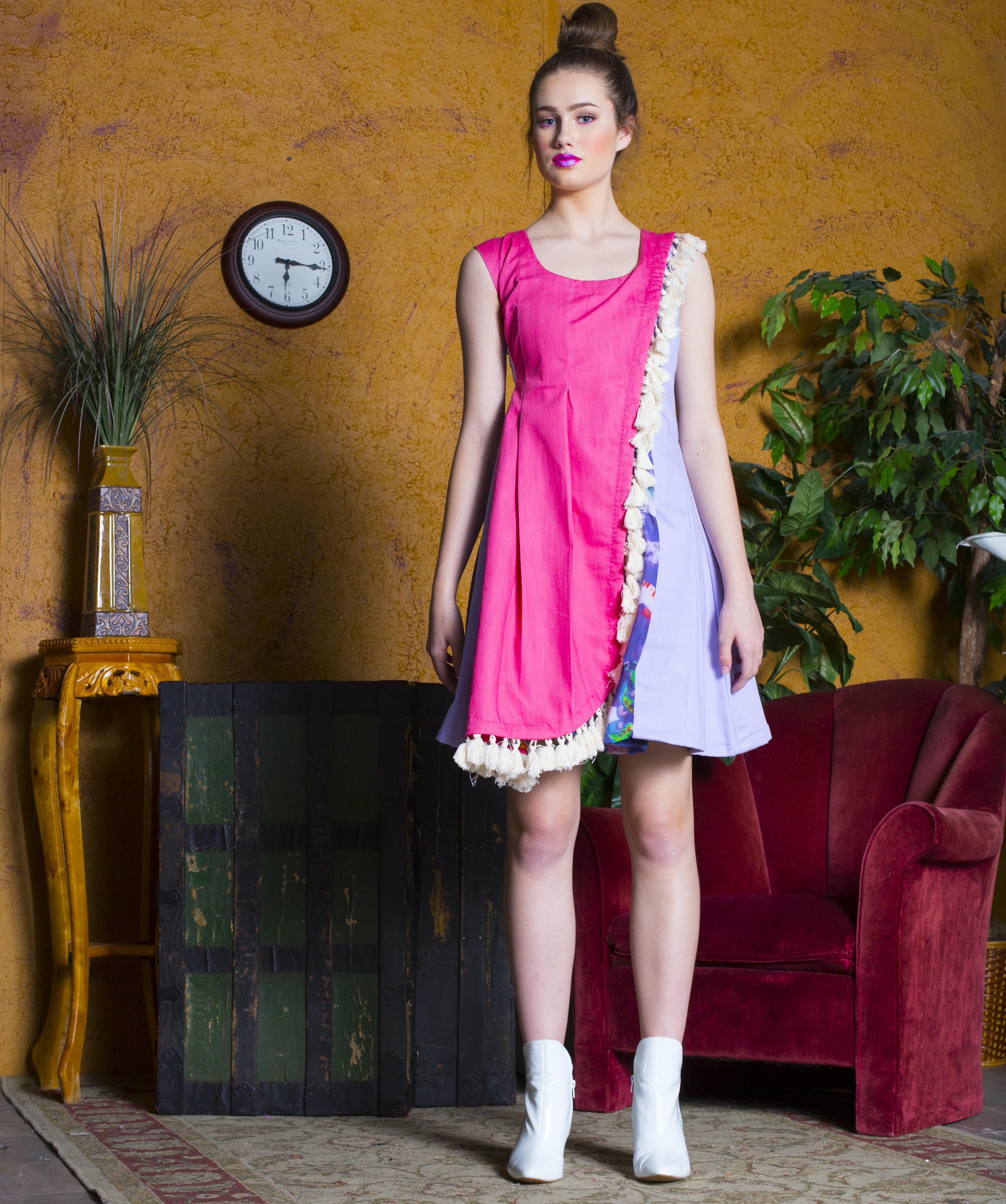 FLORAL DENIM CHFFON LAYERED DRESS