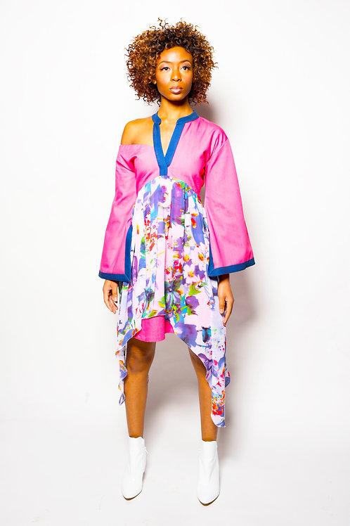ASYMMETRIC KIMONO DRESS