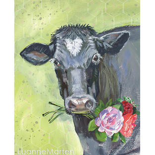 Angus cow painting by Luanne Marten with heart shaped forehead mark, flowers