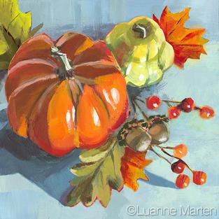 pumpkin, gourd, berries, acorns acrylic painting by Luanne Marten