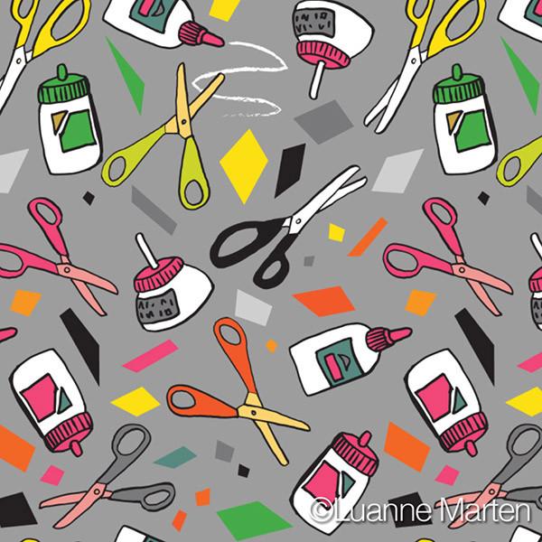 Paste scissors and cut paper pattern by Luanne Marten
