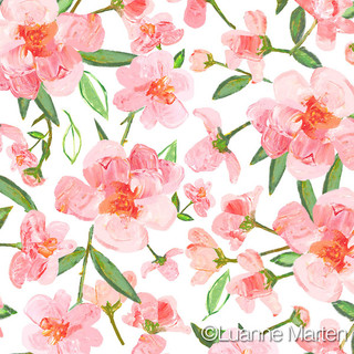 Blush roses pallette knife painting repeat pattern