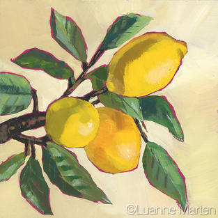 Lemons on branch on cream ground, original acrylic painting