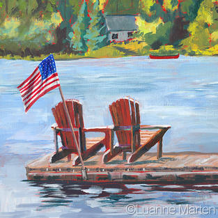 acrylic painting of adirondack chairs on a dock at lake, american flag