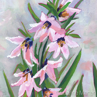 Luanne Marten pink lily painting, frittilaria floral,