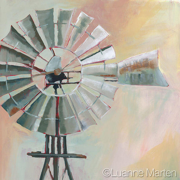 Windmill painting with pastel neutral background