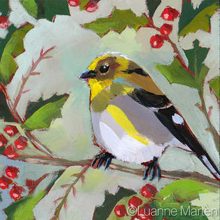 Loosely painted goldfinch on branches of holly and red berries