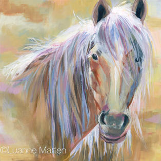 Gold Horse original acrylic painting by ©Luanne Marten