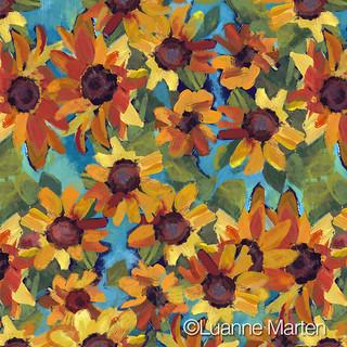 Handpainted acrylic sunflower pattern by Luanne Marten