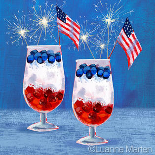 fourth of July fruit drinks, berries, flags, sparklers