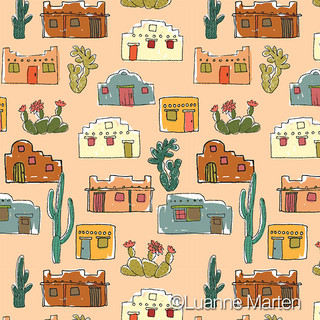 Adobe houses and cactus pattern by Luanne Marten