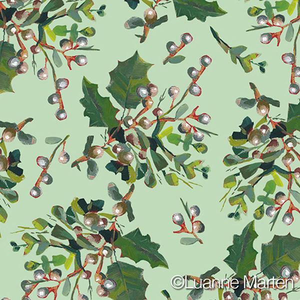 Silver Holly pattern on mint by Luanne Marten