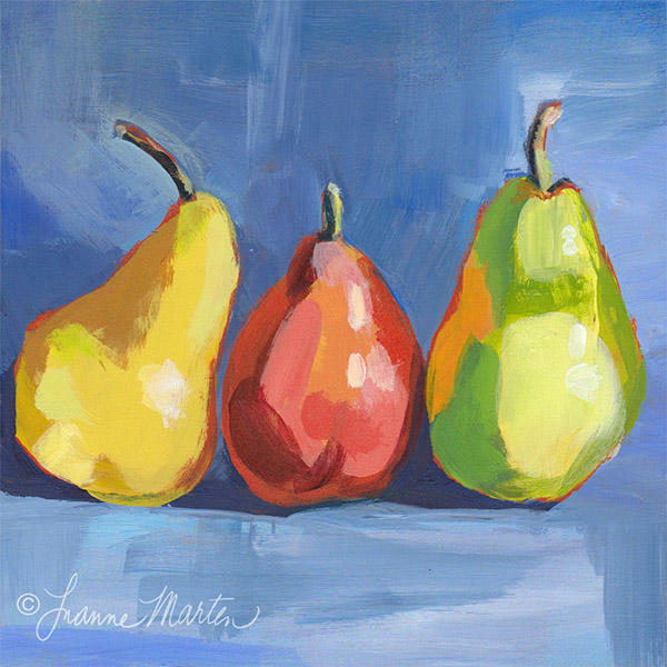 yellow, red and green pears, loose acrylic painting, on blue, by Luanne Marten