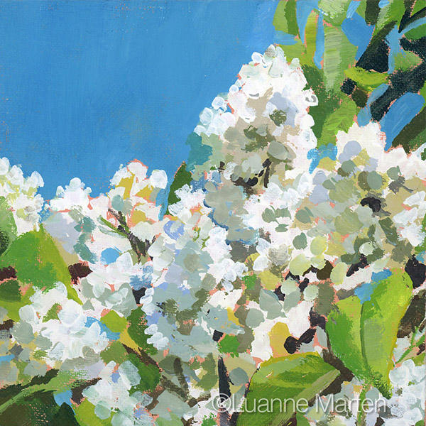 white lilacs painting impressionist style with blue sky