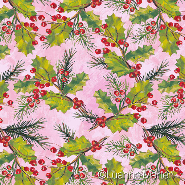 Red berries, green holly leaves, pine branch pattern on pink by Luanne Marten