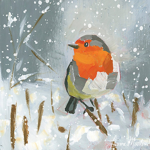 Snowy Winter Robin, high quality art print