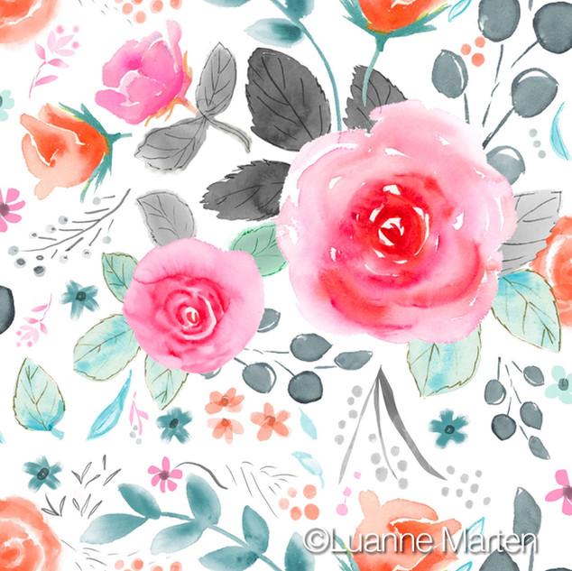 surface pattern design, pink, orange gray teal watercolor floral